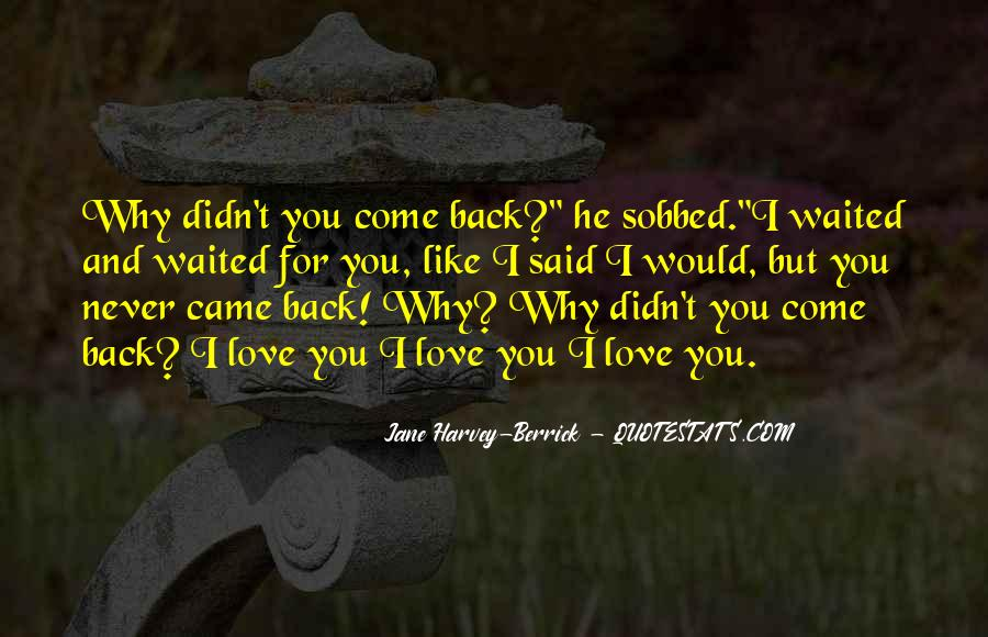 I'll Never Come Back Quotes #929069