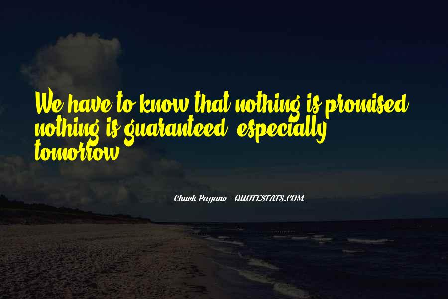 Nothing Is Promised Tomorrow Quotes #1032563