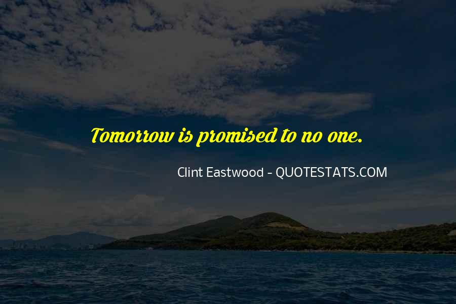 Nothing Promised Tomorrow Quotes #869159